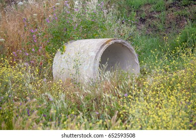 Cement water pipe in the field of yellow flowers