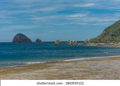 Cemento Beach, a secluded beach popular with surfers in Baler, Aurora, Philippines.