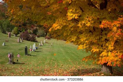 Cemetary in fall foliage