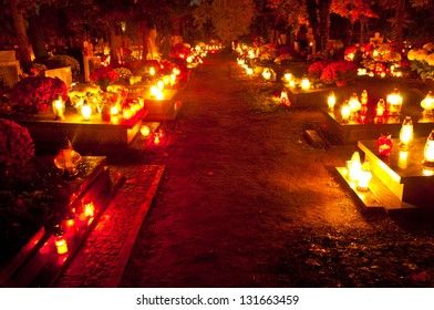 Cemetery alley at night, All Saints Day, Wroclaw, Poland