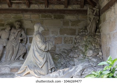 cemetery architecture figures and details around chapel of a historical village in south germany