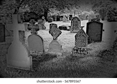 cemetery area near a church in the town of Stratford in England with ancient tombs.