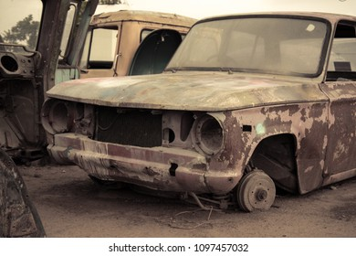 Cemetery Car, Abandoned old car in garage. retro and vintage style.