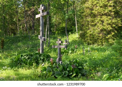 Cemetery in the Golgotha-Crucifix skete at Mount Calvary on Anzersky Island, Solovki Islands, Arkhangelsk Region, Russia