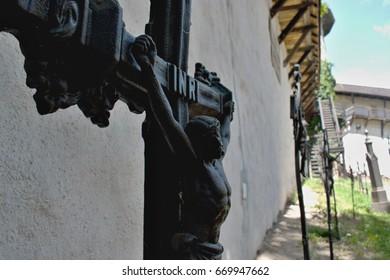 Cemetery inside the Old castle /Banska Stiavnica/ - detail Cross.