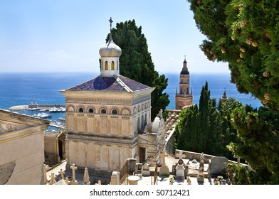 Cemetery of Menton with a view on Mediterranean sea