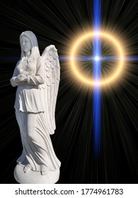 The cemetery monument in the form of an angel of white on a background of mystical light in the form of a cross