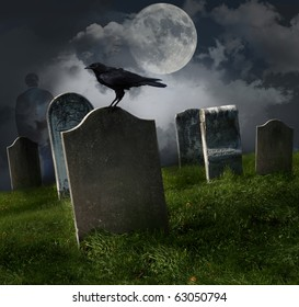 Cemetery with old gravestones, moon and black raven