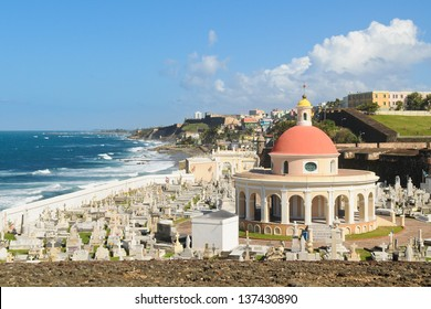 Cemetery on the coast in Old San Juan with colorful dome