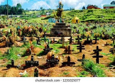 Cemetery in San Juan Chamula near San Cristobal de las Casas, Chiapas, Mexico. July 2015.