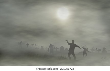 cemetery with zombies