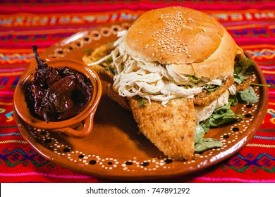 Cemita Poblana with chiles chipotle Mexican food from Puebla city