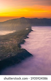 Cemoro Lawang village at Bromo volcano mountain in, East Java, Indonesia with beautiful sunrise and sea of fog.