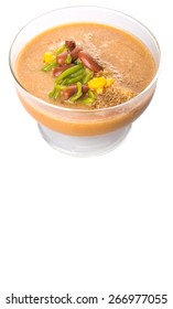 Cendol, a popular traditional dessert originating from Southeast Asia in a glass over white background.