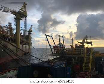 Cendor Oil Field, 8 May 2017, the diving team and surveyor doing the Under Water Inspection in lieu of Dry-Docking (UWILD) for floating production storage and offloading (FPSO) early in the morning.