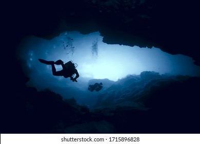 cenote angelita, mexico, cave diving, extreme adventure underwater, landscape under water fog