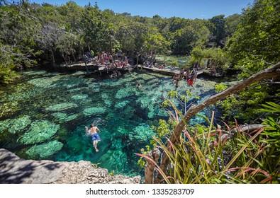 CENOTE AZUL, MEXICO 11 MARCH 2019: Cenote Azul in Mexico #5
