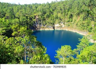A Cenote between the Beautiful lakes of Montebello, Chiapas, Mexico