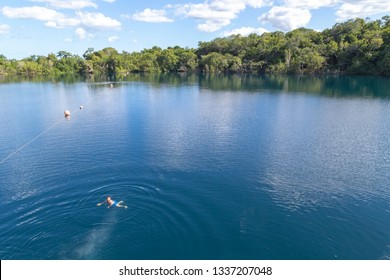 cenote blue bacalar (lagoon of the seven colors) Quintana Roo Mexico