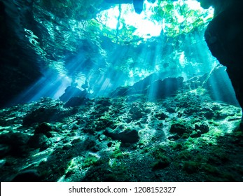 Cenote scuba diving, underwater cave in Mexico