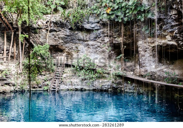 Cenote with transparent water in Mexico, Riviera Maya