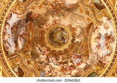 CENOVA, ITALY - JULY 14, 2014: Ancient paintings in Basilica dell'Annunziata in Cenova, Italy.