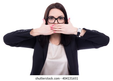 censorship concept - stressed young business woman covering her mouth isolated on white background