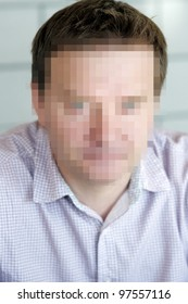 Censorship portrait of middle age man