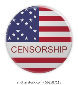 Censorship USA News Concept: Badge With Stars And Stripes US Flag With Missing Stars, 3d illustration on white background