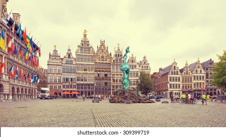Cental square of Antwerp. City Hall and Brabo fountain. Creative filter effect