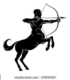 Centaur concept of mythical centaur archer half horse half man character aiming a bow and arrow