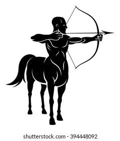 Centaur concept of mythical centaur archer half horse half man character holding a bow and arrows