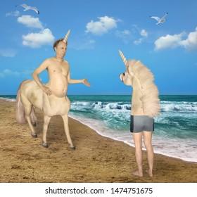 The centaur unicorn meets the strange horse on the beach of the sea.