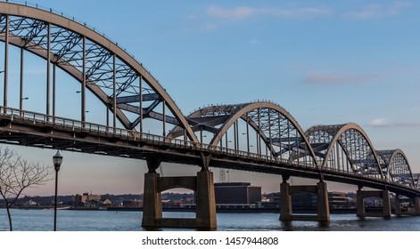 Centennial bridge between Rock Island, IL and Davenport, IA.