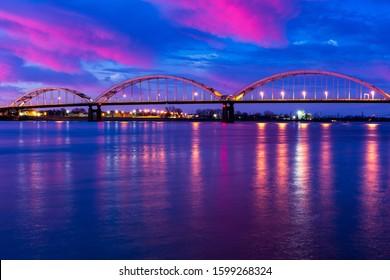 Centennial Bridge over Mississippi River in Rock Island IL and Davenport IA