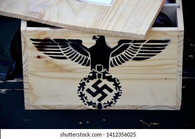Centennial CO, USA. June 18, 2015. Display of equipment captured from the Nazi's during World War 2 included this box with the Eagle and Nazi Swastika at an event honoring  World War 2 soldiers.