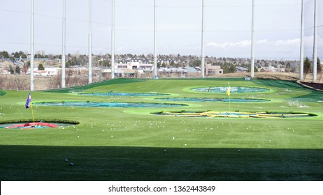 Centennial, Colorado - March 23, 2019: Golf driving range at Topgolf