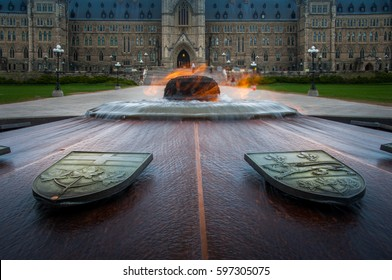 The centennial flame is a fire and water eternal flame that burns in front of Canada's Parliament Building on Parliament Hill.