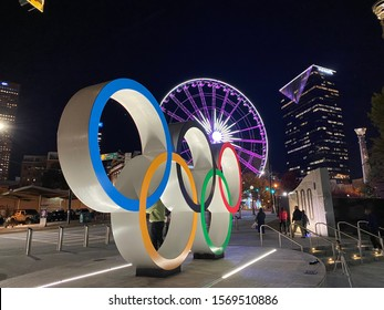 Centennial Olympic Park entrance at night.  The park was commissioned for the 1996 Summer Olympics and is a popular downtown attraction - Atlanta, Georgia, USA - November 19,2019