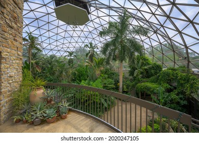 Center building and inner dome of the Greater Des Moines Botanical Garden at 909 Robert D. Ray Drive in Des Moines, Iowa on July 29, 2021