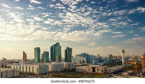 Center of capital of Kazakhstan - Astana./Astana, Kazakhstan - August 31, 2013: Center of Astana city at evening