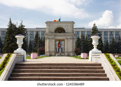 The center of Chisinau in the Republic of Moldova. Great National Assembly Square, Triumphal Arch. The Government House in Chisinau.