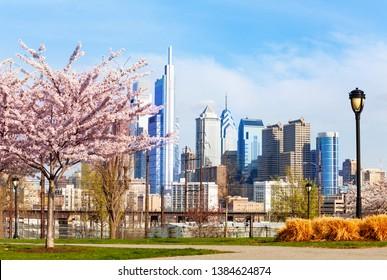 Center City,Philadelphia  district in spring, USA