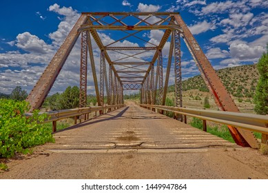 A center closeup of the old trestle bridge that crosses Walnut Creek along Williamson Valley Road in northern Arizona just south of Seligman.