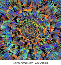 Center Core View of a Magical Mandala as seen inside a Complex Geometric Sphere