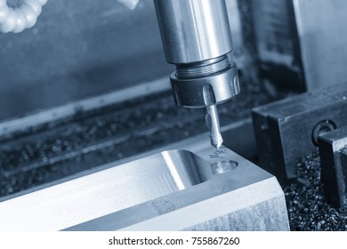 The center drill tool on the CNC milling machine in blue scene.