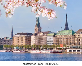 Center of Hamburg city in springtime