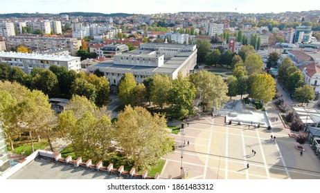 The center of Haskovo Bulgaria (Svoboda Square) photographed from a bird's eye view - drone DJI Mavic 2 Zooom picture, November 2020 - Shutterstock ID 1861483312