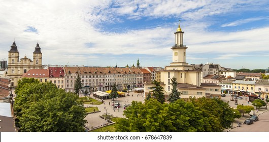 The center of historic european city Ivano Frankivsk in summer. Old beautiful architecture.
