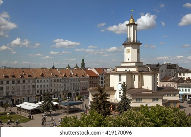 The center of Ivano-Frankivsk city with City Hall